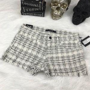Joes jeans white black tweed knit shorts